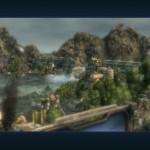 Voda vytékající z poškozené přehrady vytéká a zaplavuje průmyslové město.