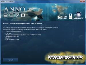 Screenshot instalační obrazovky demoverze Anno 2070.