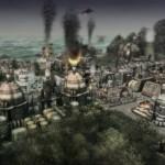Kouřící fabriky ve městě plném smogu